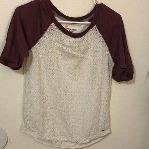 Maroon & white mesh front T-shirt
